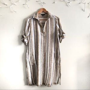 Drew Stripe linen shirt dress missing belt NWT